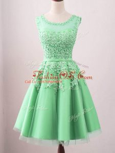 Flirting Green Sleeveless Tulle Lace Up Bridesmaid Dresses for Prom and Party and Wedding Party