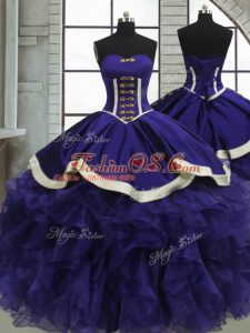 Purple Ball Gowns Sweetheart Sleeveless Organza Floor Length Lace Up Ruffles Sweet 16 Dress