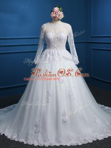 Lace and Appliques Wedding Dress White Zipper Long Sleeves Court Train