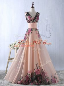 Traditional Sleeveless Lace Up Floor Length Ruching Prom Gown