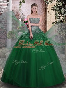 Pretty Dark Green Sweet 16 Dresses Military Ball and Sweet 16 and Quinceanera with Beading Strapless Sleeveless Lace Up