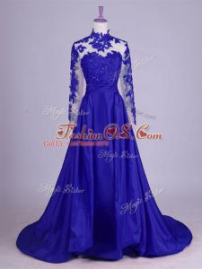 Royal Blue Lace Up Mother Of The Bride Dress Lace and Appliques Sleeveless Brush Train