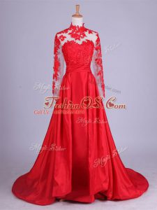 Ideal Red Long Sleeves Brush Train Lace and Appliques Mother Of The Bride Dress