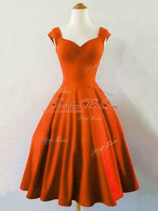 Straps Sleeveless Bridesmaid Dress Knee Length Ruching Rust Red Taffeta