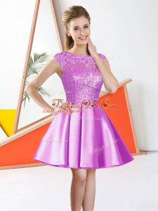 Fancy Lilac Taffeta Backless Bateau Sleeveless Knee Length Vestidos de Damas Beading and Lace