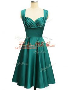 Ruching Bridesmaid Dresses Teal Lace Up Sleeveless Knee Length