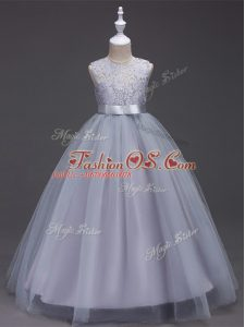 Grey Sleeveless Lace Floor Length Pageant Gowns For Girls
