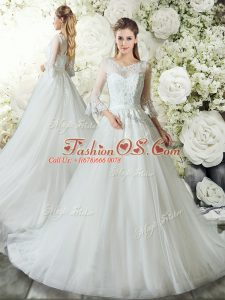 Zipper Bridal Gown White for Wedding Party with Lace Court Train