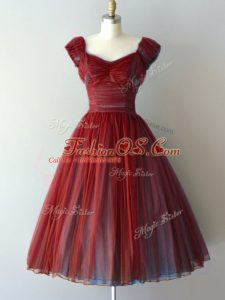 Rust Red Cap Sleeves Chiffon Lace Up Bridesmaid Dresses for Prom and Party and Military Ball and Sweet 16