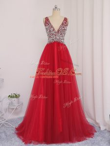 Backless Military Ball Dresses Red for Prom and Party and Military Ball with Beading Brush Train
