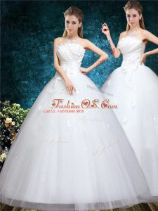 New Style White Sleeveless Tulle Lace Up Wedding Gowns for Wedding Party