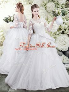 White Wedding Dress Tulle Brush Train Half Sleeves Lace and Ruffles