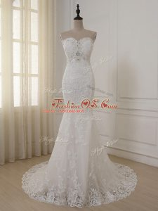 Delicate White Sweetheart Zipper Lace and Appliques Bridal Gown Brush Train Sleeveless
