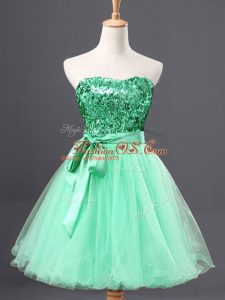 Inexpensive Sweetheart Sleeveless Homecoming Dress Mini Length Sequins Apple Green Tulle