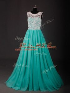 Custom Design Turquoise Scoop Neckline Lace and Embroidery Party Dresses Sleeveless Zipper
