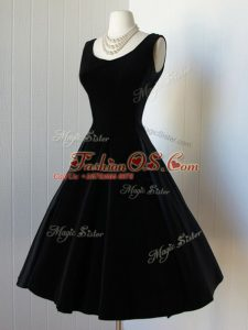 A-line Evening Dress Black Scoop Taffeta Sleeveless Knee Length Zipper
