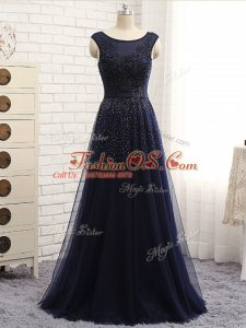 Scoop Sleeveless Zipper Mother Of The Bride Dress Navy Blue Tulle