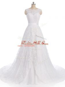 White Scalloped Neckline Lace Wedding Gown Sleeveless Clasp Handle