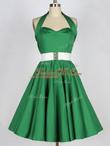 Graceful Mini Length Lace Up Bridesmaid Gown Green for Prom and Party and Sweet 16 with Belt