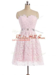 Pink Sweetheart Zipper Beading and Lace Prom Dress Sleeveless