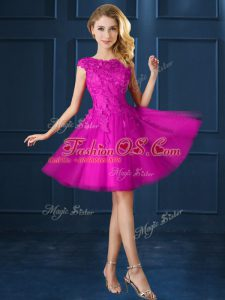 Stunning Knee Length A-line Cap Sleeves Fuchsia Dama Dress for Quinceanera Lace Up