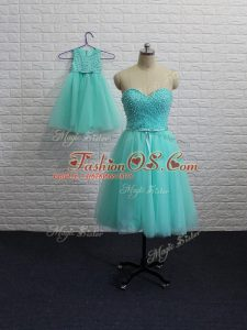 Romantic Mini Length A-line Sleeveless Aqua Blue Teens Party Dress Lace Up