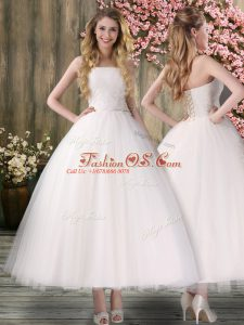 White Ball Gowns Off The Shoulder Sleeveless Organza Ankle Length Lace Up Embroidery Wedding Dresses