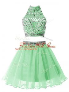 Flare Apple Green Zipper Bridesmaid Dress Beading Sleeveless Mini Length