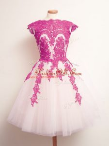 Multi-color A-line Tulle Scalloped Sleeveless Appliques Mini Length Lace Up Quinceanera Dama Dress