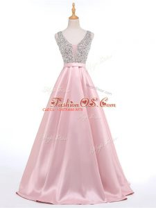 Baby Pink V-neck Neckline Beading Prom Party Dress Sleeveless Backless