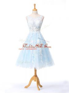 Best Appliques Dama Dress for Quinceanera Light Blue Backless Sleeveless Knee Length