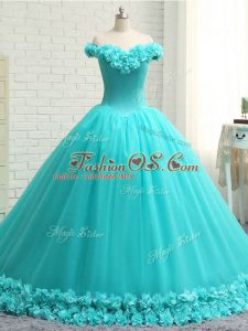 Fabulous Aqua Blue Sweet 16 Dress Military Ball and Sweet 16 and Quinceanera with Hand Made Flower Off The Shoulder Sleeveless Court Train Lace Up