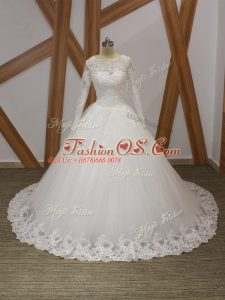Latest Beading and Appliques Wedding Dress White Zipper Sleeveless Court Train