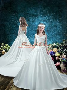 Lace Up Flower Girl Dresses for Less White for Wedding Party with Lace and Bowknot Court Train