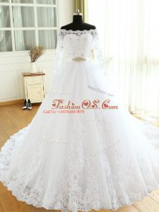 White Long Sleeves Court Train Beading and Lace and Appliques Wedding Gowns