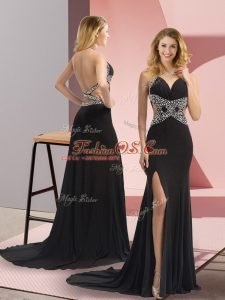 Sophisticated Black Backless Homecoming Dress Beading Sleeveless Sweep Train