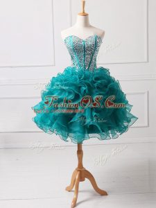 Teal A-line Beading and Ruffles Military Ball Dresses For Women Lace Up Organza Sleeveless Mini Length