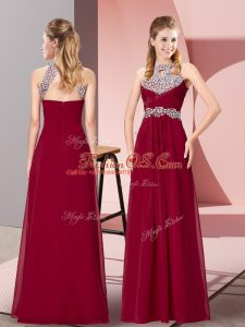 Inexpensive Sleeveless Chiffon Floor Length Zipper Party Dress for Toddlers in Burgundy with Beading and Ruching