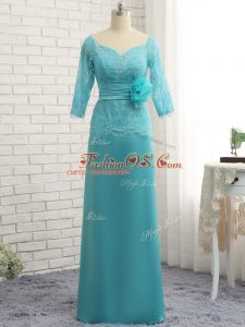 Long Sleeves Chiffon Floor Length Zipper Mother Of The Bride Dress in Aqua Blue with Lace and Appliques and Ruching and Hand Made Flower