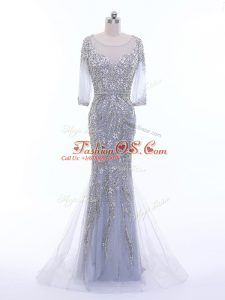 Silver Column/Sheath Tulle Scoop 3 4 Length Sleeve Beading Zipper Dress for Prom Brush Train