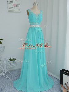 Luxury Aqua Blue Court Dresses for Sweet 16 Prom and Party and Wedding Party with Beading and Lace Scoop Sleeveless Sweep Train Side Zipper