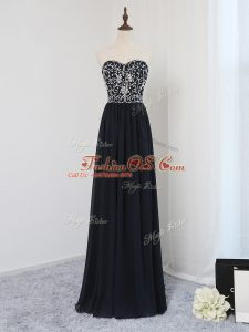 Popular Black Prom Dresses Prom and Party and Wedding Party with Beading Sweetheart Sleeveless Zipper