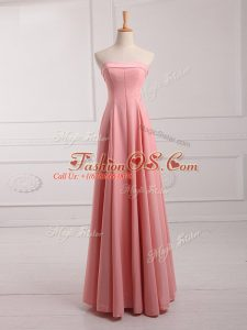 Fitting Watermelon Red Chiffon Lace Up Strapless Sleeveless Floor Length Wedding Guest Dresses Ruching