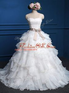 Sleeveless Floor Length Lace and Ruffles Lace Up Wedding Gowns with White
