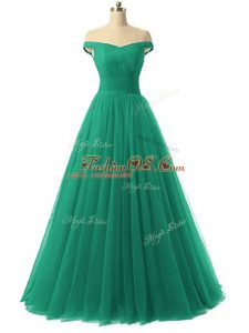 Designer Green Prom Party Dress Prom and Party and Military Ball with Ruching Off The Shoulder Sleeveless Lace Up