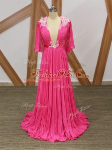 Exceptional Hot Pink Empire V-neck Half Sleeves Chiffon Sweep Train Backless Lace and Appliques and Pleated Oscars Dresses