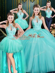 Best Floor Length Ball Gowns Sleeveless Aqua Blue Quinceanera Dresses Lace Up
