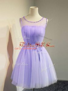 Colorful Belt Bridesmaid Dresses Lavender Lace Up Sleeveless Knee Length