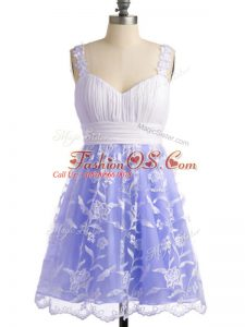 Beautiful Lavender Empire Lace Straps Sleeveless Lace Knee Length Lace Up Quinceanera Dama Dress