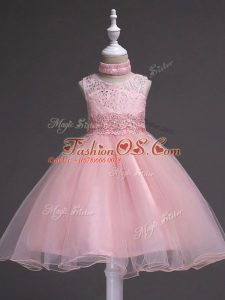 Baby Pink Sleeveless Tulle Zipper Kids Pageant Dress for Wedding Party